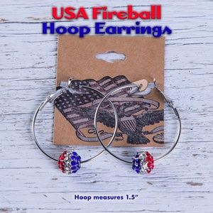 USA Earrings *Fireball Hoop 🇺🇸💎🔴⚪🔵